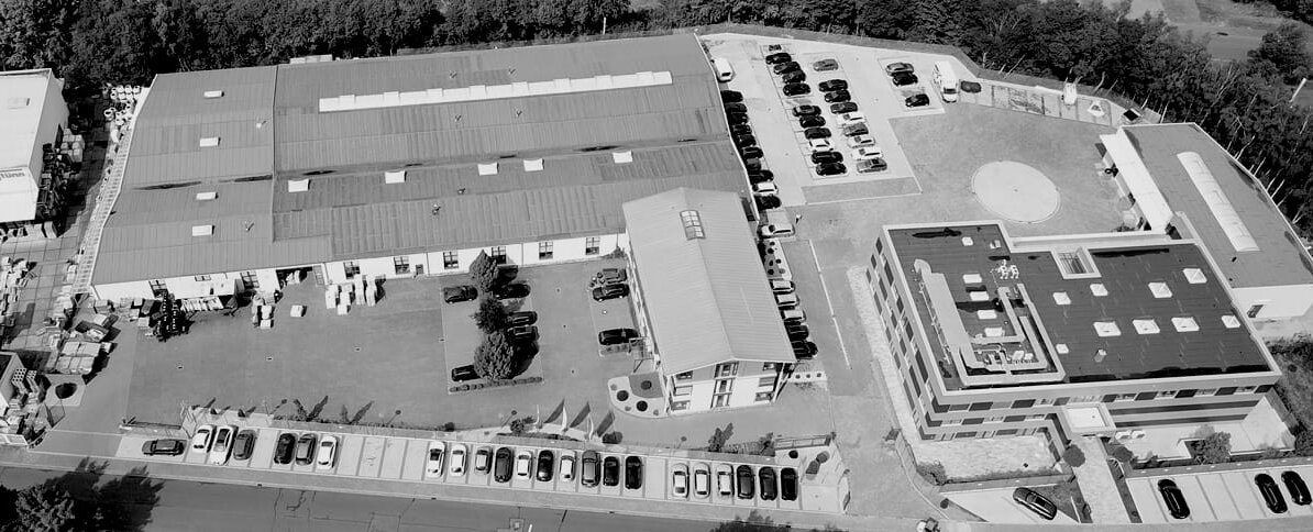 Aerial picture of the production halls of eltherm.