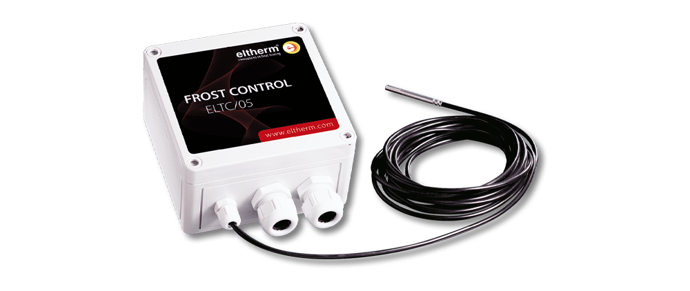 The electronic frost protection thermostat ELTC 05-Frostcontrol is designed for use as an ambient thermostat and surface thermostat with remote sensor.